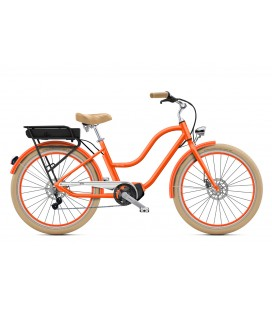 "Cruiser à assistance électrique O2Feel POP N8 Orange Corail 26"" Mid - P600 2020"