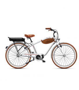 Beach cruiser à assistance électrique O2Feel POP man N7C SHIMANO STEPS E5000 chrome/brick P400 2020
